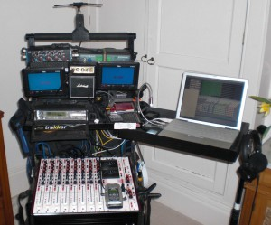 John Pearson MIBS' sound trolley, set up with the 702T for the main mix and Boom Recorder running through a MOTU Traveler for the iso tracks.
