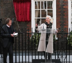 Judy Dench at blue plaque unveiling